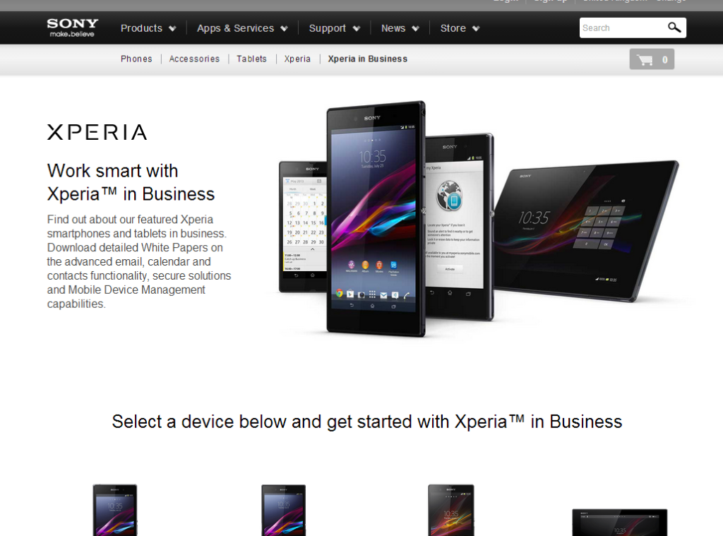 Xperia in Business pportal